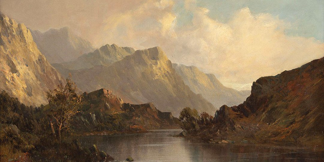 painting of a Scottish lake landscape